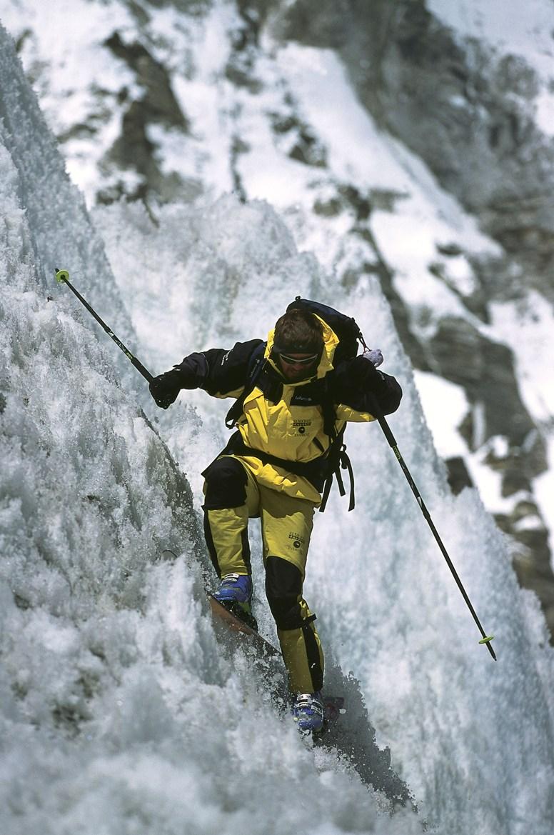 Davo Karnicar med smučanjem v Ledenem slapu